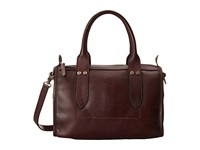 Frye Amy Zip Satchel Burgundy Oiled Vintage Leather Satchel Handbags Brown