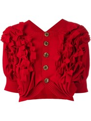 Comme Des Garcons Vintage Bow Detail Knit Bolero Red