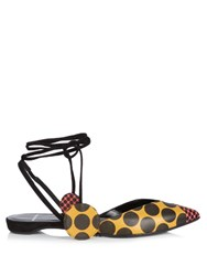 Pierre Hardy Lola Polka Dot Print Ankle Wrap Leather Flats Black Multi