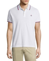 Moncler Tipped Short Sleeve Pique Polo Shirt White Size Small