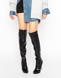 Aldo Graziella Lace Back Platform Heeled Over The Knee Boots Black Synthetic