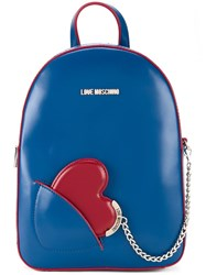 Love Moschino Heart Chain Small Backpack Blue