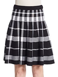 Saks Fifth Avenue Black Plaid Jacquard Flare Skirt Black Bleach