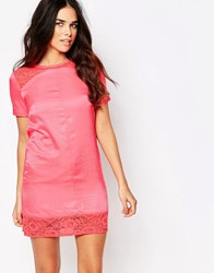 Hedonia Tatum Shift Dress With Lace Inserts Coral