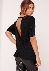 Missguided Wrap Back T Shirt Black