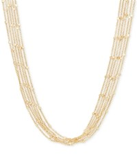 Macy's Multi Chain Square Beaded Statement Necklace In 18K Gold Yellow Gold