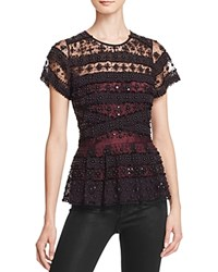 Parker Shannon Embellished Peplum Top Black
