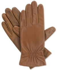 Isotoner Signature Isotoner Gathered Stretch Leather Tech Touch Gloves Luggage
