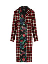 Msgm Hound's Tooth Wool Blend Coat Red Multi
