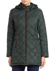 Weatherproof Quilted Faux Fur Lined Coat Hunter Green