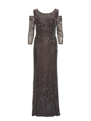 Gina Bacconi Beaded Maxi Dress With Cutout Shoulder Grey