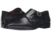 Massimo Matteo Deerskin And Leather Double Monk Black Men's Shoes