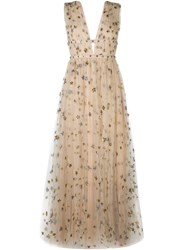 Valentino 'Star Studded' Evening Dress Nude And Neutrals