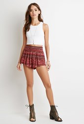 Forever 21 Tribal Print Shorts Black Coral