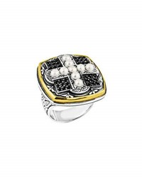 Konstantino Spinel And Cross Pearl Ring Size 7