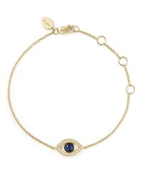 Meira T 14K Yellow Gold Sapphire And Diamond Evil Eye Bracelet White Gold