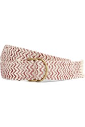 Maje Two Tone Cotton Blend Belt Red