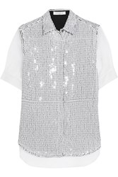 Sandro Carmelle Sequined Crepe And Silk Organza Shirt White