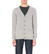 A.P.C. Wool And Cashmere Blend Cardigan Gris Clair Chine