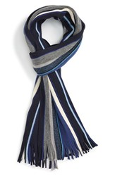 Calibrate Men's Mixed Stripe Cashmere And Wool Scarf Navy Combo