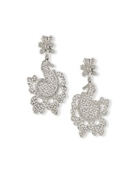 Crystal Lace Statement Earrings Silver Oscar De La Renta