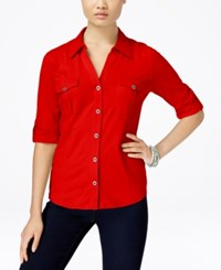 Styleandco. Style And Co. Roll Tab Jersey Button Down Shirt Only At Macy's New Red Amore