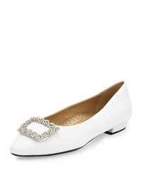 Neiman Marcus Georgia Crystal Buckle Leather Flat White Silver