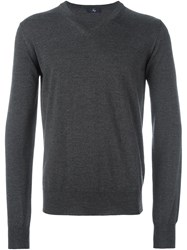 Fay V Neck Ribbed Sweater Grey