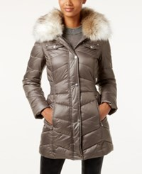Laundry By Design Faux Fur Trim Hooded Puffer Coat Gray