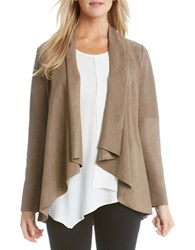 Karen Kane Drape Faux Suede Jacket Brown