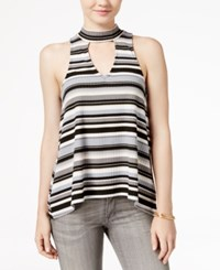 Almost Famous Juniors' Printed High Low Tank Top Black White Grey