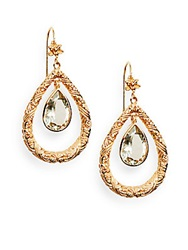Stephen Dweck Green Amethyst Floral Teardrop Earrings Bronze