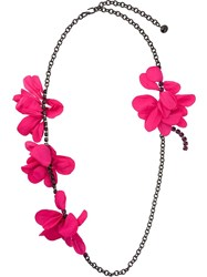 Lanvin Multiple Flower Necklace Pink And Purple