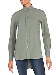 Frame Denim Cotton Button Front Shirt Olive