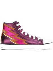 Roberto Cavalli Lightning Bolt Patch Sneakers Pink And Purple