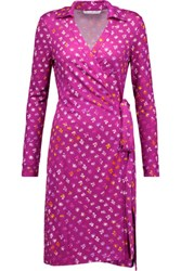Diane Von Furstenberg New Jeanne Two Printed Silk Jersey Wrap Dress Plum