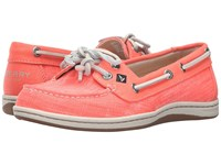 Sperry Firefish Ripstop Canvas Bright Coral Women's Lace Up Moc Toe Shoes Gray