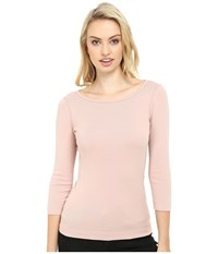 Three Dots 3 4 Sleeve British Tee Pink Bloom Women's Long Sleeve Pullover