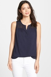 Nydj Knit Tank With Eyelet Yoke Blue