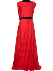 Ann Demeulemeester Slash Neck Evening Gown Red