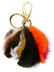 Salvatore Ferragamo Fur Keyring Multicolour