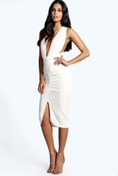 Boohoo Slinky Plunge Neck Midi Bodycon Dress Ivory