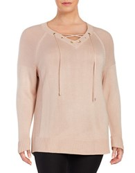 Calvin Klein Plus Knit Lace Up Sweater Pink