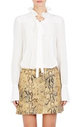 Chloe Women's Silk Pintucked Blouse White Size 38 Fr