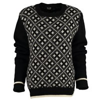 Lowie Virgin Wool Check Knit Jumper In Black Grey And Cream