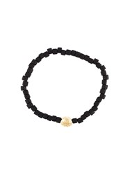 Luis Morais 14Kt Gold Large Star Mantra Bracelet Black