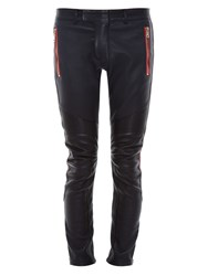Balmain Biker Contrasting Stripe Stretch Leather Trousers