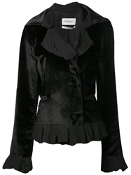 Yves Saint Laurent Vintage Velvet Ruffle Jacket Black
