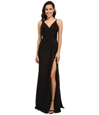 Faviana Faille Satin V Neck Gown With Draped Skirt Black Women's Dress