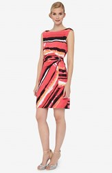 Petite Women's Tahari Stripe Jersey Side Tie Dress Geranium Pink
